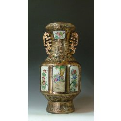 Qing Dynasty YongZheng Imperial Ware Copper-colored Glaze Porcelain Vase with panel design