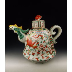 Ming Dynasty WanLi Imperialware Five-colored Porcelain Tea Pot