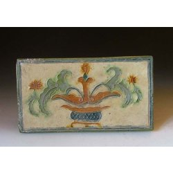 Liao Dynasty Tri-colored Pottery Pillow with flower pattern