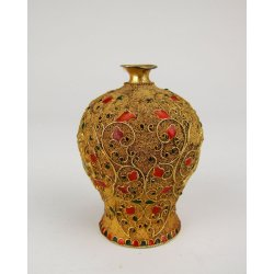 Qing Dynasty QianLong Imperial Ware Gilt Silver Vase With Beast Pattern