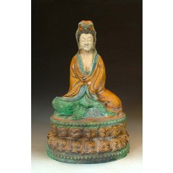 Liao Dynasty Tri-colored Pottery Kuanyin Buddha Statue