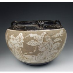 Song Dynasty Cizhou Ware Sgraffiato Porcelain Pot With Incised Eight Immortal Beings Pattern