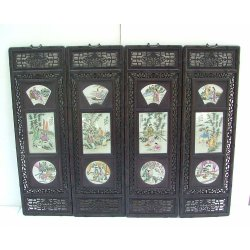 one Set Of 4 Famille Rose Porcelain Panels with Rosewood Frame Later Qing Dynasty