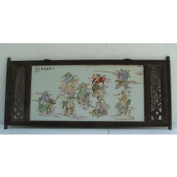 Later Qing Dynasty Famille Rose Porcelain Panel with Rosewood Frame