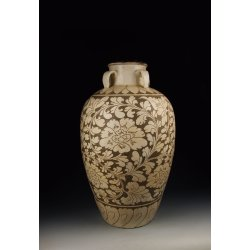 Large Song Dynasty Cizhou Ware Sgraffiato White Glaze Porcelain Vase With Four Loop-handles Design